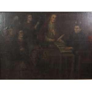 Escola Cusquenha - Cena Sacra - OST - 102 x 138 cm . Perú Sec XVIII (no estado)