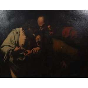 Caravaggio / D Aprés -A Duvida de São Tomé - O/S/T . Europa Sec XIX - 109 x 141 cm (no estado)