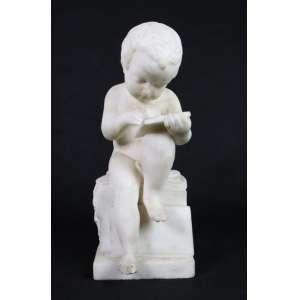 Escultura de mármore de Carrara representando criança a ler, assinado na base Colin Franc 1801 - 41 X 17 X 15,5 CM.(no estado)