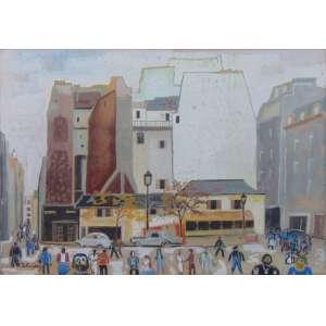 John Graz - Cena Urbana - Aquarela - CIE - 35 x 50 cm.