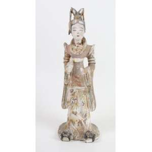 Escultura em terra cota policromada representando Guainin - China Séc XVIII/XIX - 38 cm alt.