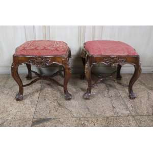 Belo par de mochos, executados em cedro, estilo e época D. José I, Brasil, século XIX.