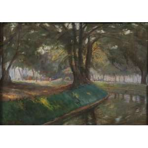 ARTHUR TIMÓTHEO da COSTA - Paisagem com rio , O/S/P, C/I/E, Dat 1917 e localizado Rio. 25 x 36 cm (moldura no estado)