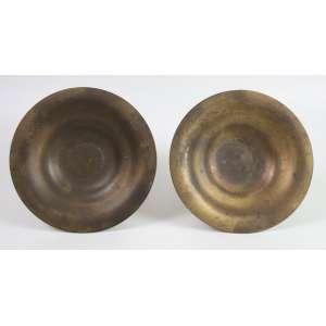 Par de centros de mesa de bronze dourado assinados Tiffany Studio U.S.A Dec 20 - 23 cm diâm.