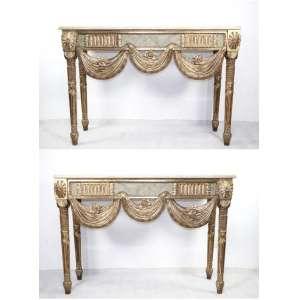 Par de suntuosos aparadores de madeira lavrada ,dourada e patinada encimados por tampo de marmore .- 100 cm alt. 144 x 47 cm.