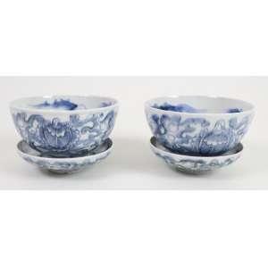 Par de Bowls e seus pires em porcelana esmaltada - Decoração Blue And White - China Séc. XX - 6 cm alt, 11 cm diâm.
