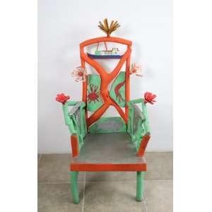 Jasson - Arte Popular - Cadeira - madeira policromada - assinada - 125x70x60 cm.