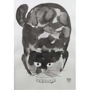 Fang - Gato - sumiê sobre papel - ass. cid - 49x34 cm.