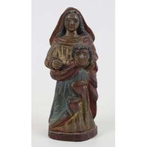 M Milza - Arte Popular - Nossa Senhora Da Cabeça - madeira entalhada e policromada - assinada na base - 18 cm alt.