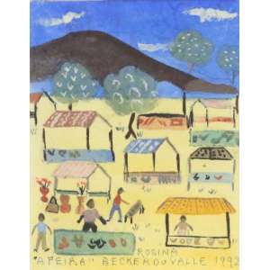 Rosina Becker do Valle - A Feira - guache s/ papel - ass. centro inferior - 1992 - 13x10 cm.
