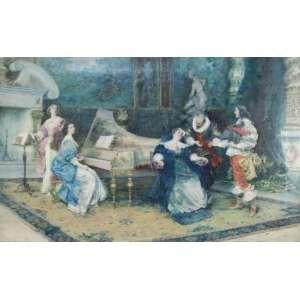 VINEA FRANCESCO (Forlì,10 de agosto de 1845 - Florença, 22 de outubro de 1902) cena de interior, óleo sobre tela, 73cm x 115cm. Estudou na Academia de Belas Artes de Florença, mas teve que passou algum tempo viajando sem casa. Trabalhou para um fotógrafo, também como designer de revistas ilustradas, mas retornou a Florença e estudou com o professor Enrico Pollastrini, mas apenas por um ano , não estava inclinado às pinturas históricas ou literárias eruditas, ou representações sérias de cenas naturais, favorecidas por alguns contemporâneos acadêmicos. Entrou em um imaginativo, muitas vezes raffish ou coquettish, e sempre elegante representações de dramas em trajes de época elegantes ocorrendo em interiores igualmente ornamentados. As pinturas se mostraram populares na Inglaterra e na França, e Vinea ganhou uma vida confortável. Seu estúdio na avenida Príncipe Eugene, em Florença, é retratado como um tesouro de itens exóticos, móveis ecléticos e itens decorativos: uma coleção facilmente encontrando seu caminho como ornamentos de suas pinturas. Gubernatis descreve seu estúdio como sua melhor obra de arte. O teto pintado em tempera com deuses olímpicos, em alegoria às artes plásticas, e seus itens coletados por acaso armazenados.((moldura e tela necessita restauro)