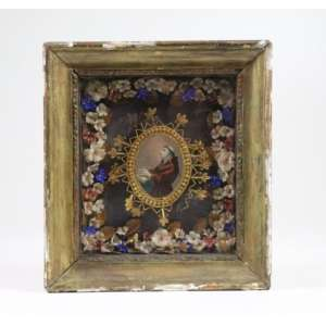 Relicário de Santo Antônio em papel laminado, tecido e madeira - Séc XIX - 10 x 7 cm. (Moldura no estado)