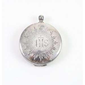 Porta hóstia em prata contrastada - Séc XX - 4 cm diâm.