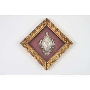 Sagrado Coração em prata e ouro - Séc XX - 8 x 5 cm.