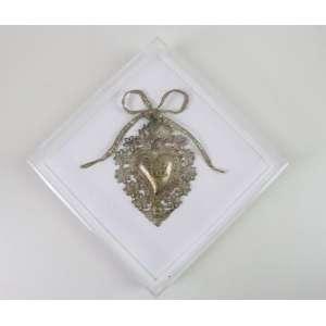 Relicário de Sagrado Coração em prata com vermeil - Séc XIX - Europa - 12 x 8 cm.
