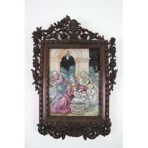 Cena da Natividade em folha de flandres esmaltada e policromada com moldura de madeira - Europa Séc. XIX - 22 x 17 cm. (Moldura no estado)
