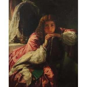 ALFRED EMORE - Figura feminina - OST - CID - Dat. 1863 - 51 x 41 cm. Alfred Elmore RA (1815–1881) foi um pintor de história e gênero histórico britânico. Ele nasceu em Clonakilty, Irlanda, filho do Dr. John Richard Elmore, um cirurgião que se aposentou do Exército Britânico para Clonakilty . parece ter sido associado ao The Clique , um grupo de jovens artistas que se viam como seguidores de Hogarth e David Wilkie . De acordo com seu amigo William Powell Frith, ele era membro do grupo, mas como era mais ativo enquanto ele estava na Europa continental, seu envolvimento provavelmente durou pouco. Uma cena dos dois cavalheiros de Verona A maioria das obras posteriores de Elmore foram pinturas narrativas históricas. A Controvérsia Religiosa e O Noviço tinham um caráter implicitamente anticatólico. Outras pinturas definem episódios de Shakespeare ou da história da Revolução Francesa. Muitas vezes continham explorações sutis do processo de criação, principalmente suas duas pinturas sobre inovação tecnológica, The Invention of the Stocking Loom (1847, Nottingham Castle Museum) e The Invention of the Penting Machine (1862, Cartwright Hall , Bradford ). Ambos retratam o processo de industrialização, descrevendo pitorescaartesanato pré-industrial. O inventor deve estar refletindo sobre essas habilidades manuais enquanto forma em sua mente um mecanismo para substituí-las.