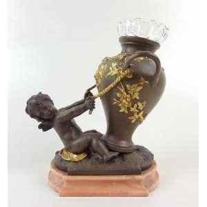 Augusto Moreau - Floreiro em bronze Ormolu com detalhes ebanizados sobre base de mármore acompanha cristã original - França Séc. XIX - 17 cm de alt, 16 de comp e 7 de prof.