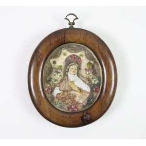 Relicário de Santa Rita em jacarandá, terracota, papel laminado e tecido Séc XIX?XX - BA - Brasil - 11 x 8 cm.