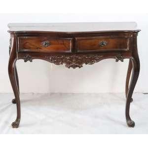 Elegante mesa de encostar de linhas harmoniosas executada em jacarandá da Bahia estilo e época D.José I . BRASIL Sec XIX - 76 cm alt, 116 compr, 57 prof.