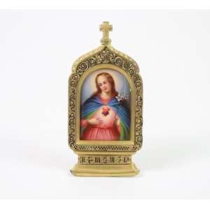 Sagrado Coração de Maria em metal e esmalte - França - 5 x 4 cm.