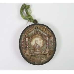 Relicário com relíquias de santos em metal, papel laminado e tecido Séc XIX - BA - Brasil - 11 x 10 cm.