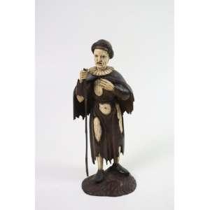 Escultura em marfim e madeira - 26 cm alt, (Necessita pequeno Restauro)