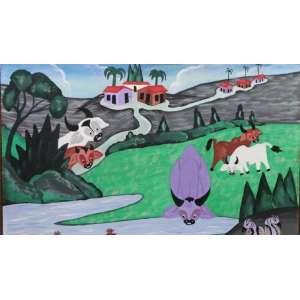 Gerardo de Souza - No Bebedouro - Arte Popular - OST - ass. cid - 1984 - 38x54 cm.
