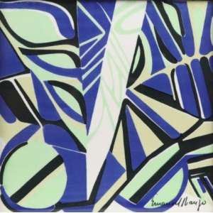 Emanoel Araújo - S/T - azulejo Céramus Bahia - ass. cid - 1974 - 21x21 cm.
