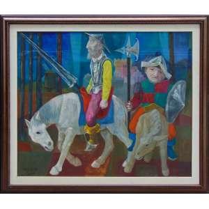 Harry Elsas - Dom Quixote – OST - ass. cie - 1973 - 109x128 cm - peq. furo próximo à pata esquerda do cavalo (No estado).