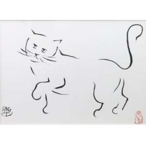 Fang - Gato - nanquim s/ papel - ass. cie - 27x39 cm.