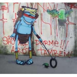 CRANIO - São Paulo Dorme !!! A Róta Também ! - Spray sobre tela - ass.verso - 2014 - 180 x 163 cm