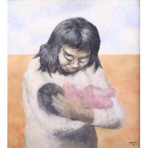 Carlos Prado - Maternidade - OSM - ass. cid - 1945 - 48x54 cm - no verso parte de pintura de outra obra.