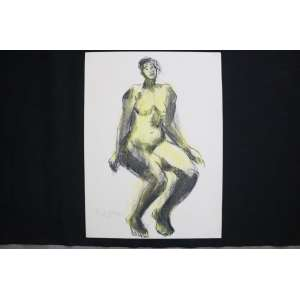 Raphael Galvez - Nú Feminino - técnica mista s/ papel - ass. cie - 1982 - 66x48 cm - não emoldurado.