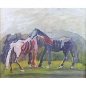 Mário Zanini - Cavalos - OSE - ass. cid - 1962 - 44x54 cm