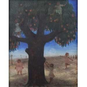 MARYSIA PORTINARI - Crianças Colhendo Frutas - OSE - ass. cid - 48 X 39 cm