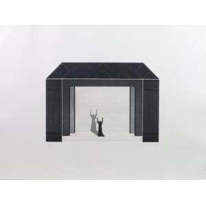Carlos Martins - Serie Guarani - gravura em metal - P.A. - ass. cid - 1985 - 39x54 cm - etiqueta da galeria Luisa Strina no verso - moldura no estado (quebrada nas laterais do cse).