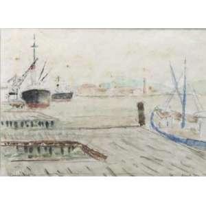 Paul Garfunkel - Itajaí - aquarela - ass. cid - 1970 - 23x32 cm - apresenta manchas amareladas.