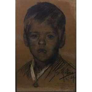 José Malhoa - Retrato de Menino - técnica mista s/ papel - ass. cid - 1890 - com dedicatória - 37x24 cm.