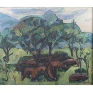 Adam Hendler - Paisagem com Gado - OST - ass. cid - 1978 - 65x55 cm