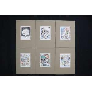 Ubirajara Ribeiro - Série Erótica - seis litografias aquareladas (prova aquarelada) - assinadas - 1979 - 16x12 cm cada - não emolduradas.