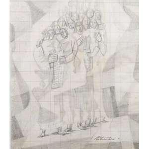 Cândido Portinari - Grupo - grafite s/ papel - desenho para ampliação para a pintura mural Escola de Canto - c. 1945 - 23x19 cm - ass. estampada pelo Projeto Portinari - reproduzido e catalogado sob nº 2411, à pg 121 do volume III do Raisonné do artista