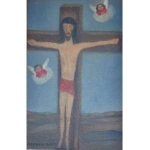 Gerson de Souza -O cruxificadoÓleo sobre tela, assinado CIE e datado 1964 - 27 x 19 cm.