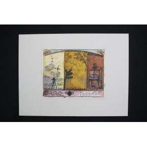 Marinaldo Santos - Novo Mundo - técnica mista s/ cartão - ass. cid - 1993 - 16x21 cm - não emoldurado.