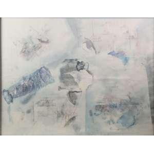 NELSON LEIRNER - Abstrato , guache sobre papel , assinado - 48 x 62 cm.