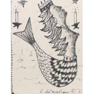 Emiliano Di Cavalcanti - Iemanjá - Desenho a Nanquim - 1961 - no verso menu do restaurante do Hotel Copacabana Palace - ass. cid - 16 x 11 cm.
