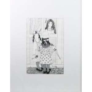 Euridyce Bressane - Hora do Passeio - nanquim s/ papel - ass. cid - 1972 - 30x20 cm.