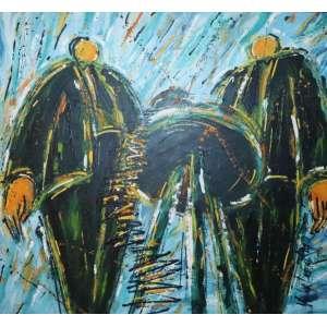 Victor Lema Riqué - Os Irmãos Martinez Esperam Importante Chamada Telefônica Informando A Cotação do Algodão no Mercado Internacional - AST - ass. cid - 1992 - 130x130 cm - etiqueta do Gabinete 144 no verso.