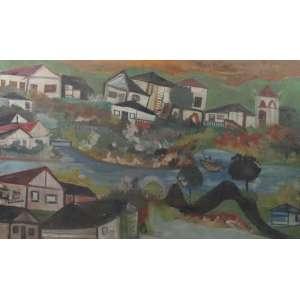 Dionisio - Arte popular - Paisagem com casas e rio - OSE - ass. cie - 51x82 cm - apresenta manchas - necessita limpeza - não emoldurado.