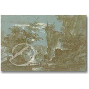 Paolo Sala. Paisagem Noturna. Aquarela, 15,5 x 21,5 cm. Assinado embaixo à  direita: P. Sala.